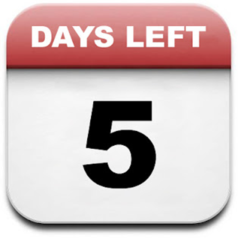 Only 5 Days Left