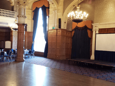 The venue has an elegant victorian themed ball room